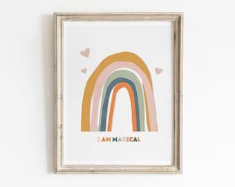 Kids Rainbow Decor, Printable Wall Art, Kids Rainbow Art, Rainbow Art Print, Kids Room Decor, Kids Bathroom Decor, Neutral Nursery Art