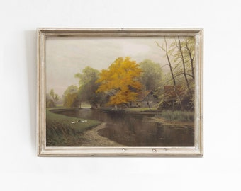 Fall Landscape Painting, Printable Wall Art, Vintage Art Print, Fall Printable Art, Landscape Print, Autumn Oil Painting, Nature Wall Art