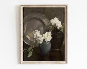 Peony Wall Art Print, Printable Wall Art, Vintage Floral Print, Floral Wall Art, Floral Oil Painting, Peony Printable, White Peony Painting