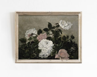Still Life Roses, Printable Wall Art, Rose Wall Art, Vintage Art Print, Still Life Painting, Floral Wall Art, Still Life Floral, Roses Print