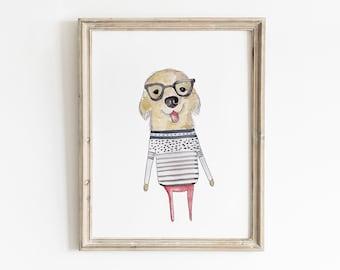 Cute Puppy Painting, Printable Wall Art, Dog With Glasses, Puppy Wall Art, Golden Retriever Art, Nursery Wall Art, Kids Room Decor, Wall Art