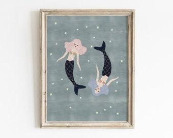 Girls Mermaid Wall Art, Printable Wall Art, Girls Room Decor, Mermaid Wall Art, Nautical Nursery Decor, Whimsical Nursery Art, Mermaid Decor