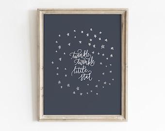 Nursery Star Art, Printable Wall Art, Nursery Rhyme Art, Kids Room Decor, Navy Nursery Decor, Kids Quote Print, Handlettered Quote, Star Art