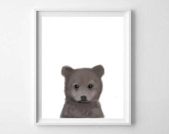 Baby bear print, Printable Art, Nursery art, Woodland animals, Nursery decor, Animal art, Baby animals, Nursery wall art, Kids art, Bear Cub