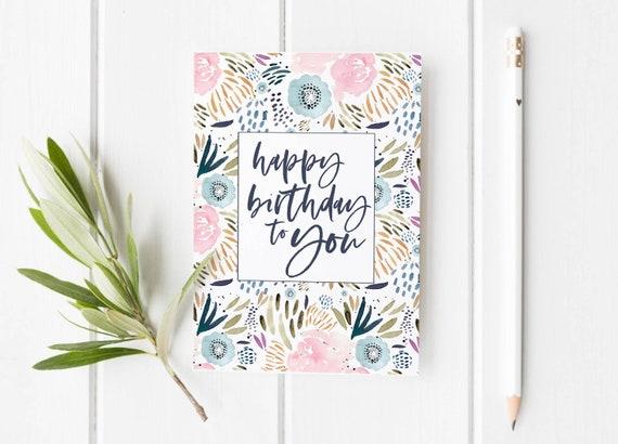 Floral Birthday Card Printable Watercolor