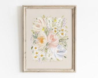 Floral Watercolor Painting, Printable Wall Art, Pink Floral Wall Art, Watercolor Print, Floral Wall Art, Nursery Wall Art, Teen Wall Art