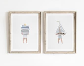 Boys Bathroom Wall Art, Printable Wall Art, Coastal Bathroom Decor, Bathroom Print Set, Coastal Nursery Wall Art, Nautical Nursery Decor