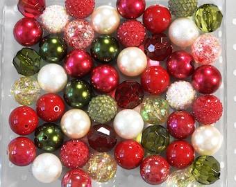 Mistletoe 20mm Bubblegum beads, Christmas bubblegum beads wholesale, Chunky beads, Bubble gum beads, bubblegum bead mix bulk, Christmas bead