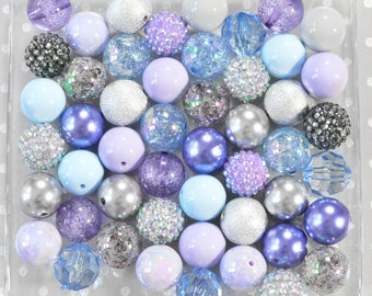 Winter Nights 20mm Bubblegum beads, Bubblegum beads wholesale, Chunky beads, Bubble gum beads, bubblegum bead mix bulk