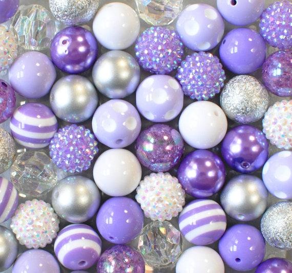 50 Stardust Acrylique Bubblegum perles mixtes Couleurs Pastel 8 mm