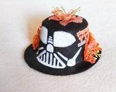 Darth Vader Inspired Black and Orange Colorful Flower Fascinator Mini Top Hat