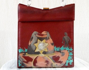 Walking Dead Inspired Sheriff Hat HAND DRAWN Upcycled 50s Purse