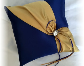 Royal Blue and Gold Wedding Ring Pillow, Blue Wedding Pillow