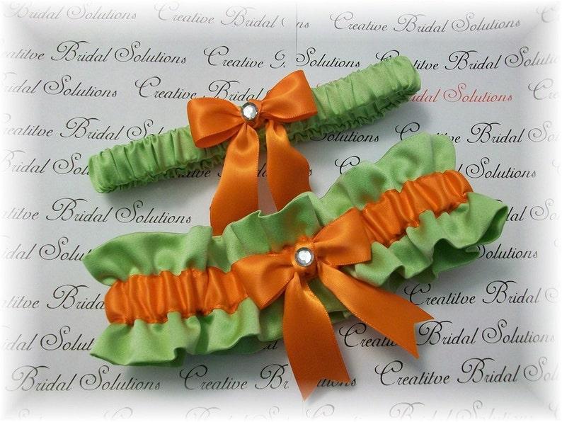 Orange Bridal Garter Apple Green Bridal Garter Lime Wedding Garter Set Bamboo Orange Satin Bridal Garter Set Green Bridal Garter