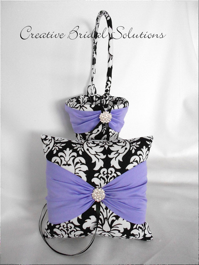 Black and White Damask with Violet Wedding Ring Bearer Pillow and Flower Girl Basket