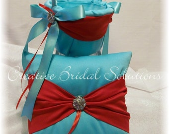 Aqua with Red Wedding Ring Bearer Pillow and Flower Girl Basket
