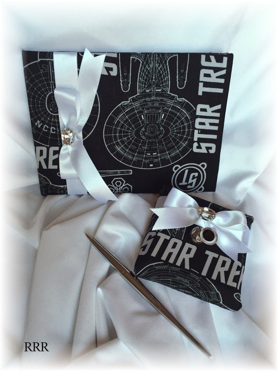 Black And White Star Trek Wedding Guest Book And Pen Star Etsy