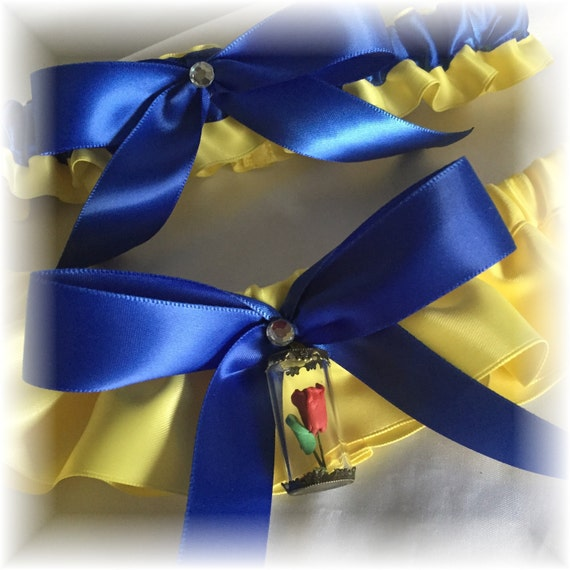 Yellow And Royal Blue Bridal Garter Beauty And The Beast
