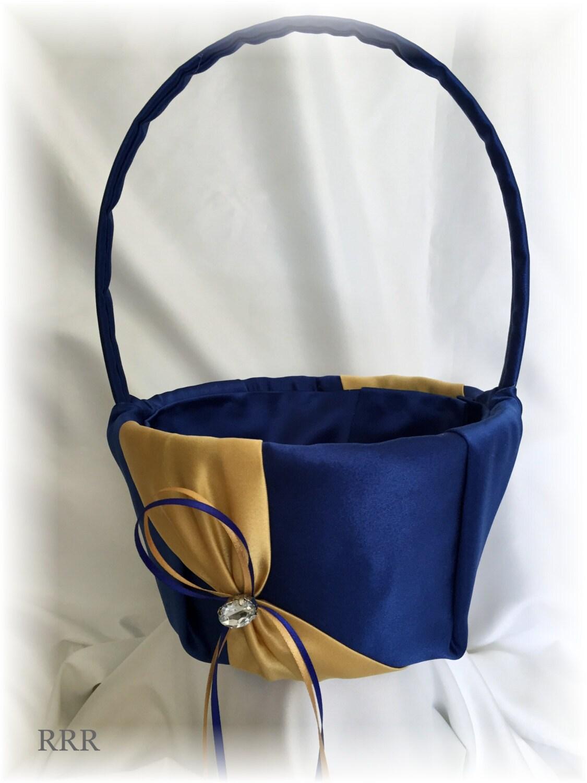 Royal Blue And Gold Wedding Flower Girl Basket Blue Wedding Etsy