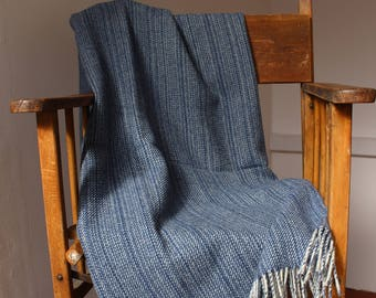 Limited edition 100% pure Shetland wool blanket, dark Indigo Blue, fine Grey stripe