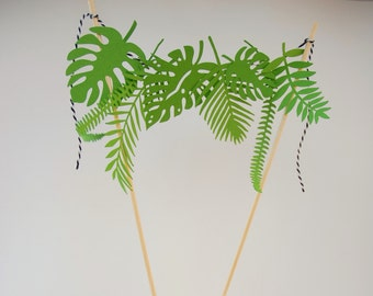 tropical leaf cake topper