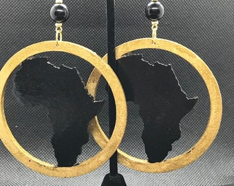 Gold and Black Circle Africa Earrings