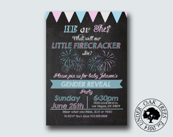 printable gender reveal invite gender reveal party firecracker firework sparkler theme