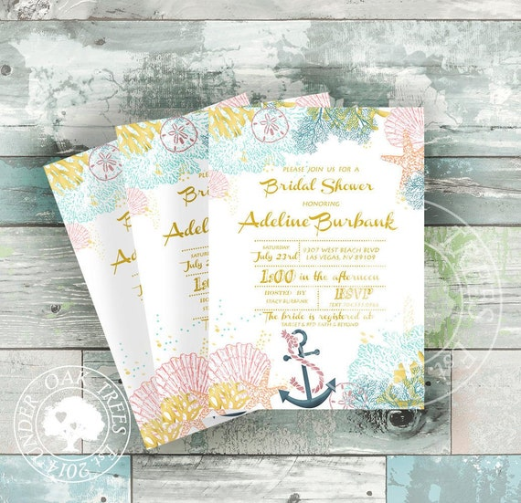 Printable Nautical Beach Themed Bridal Shower Invites Soft Coral Mint And Gold Colors Invitations 5 X 7 Format