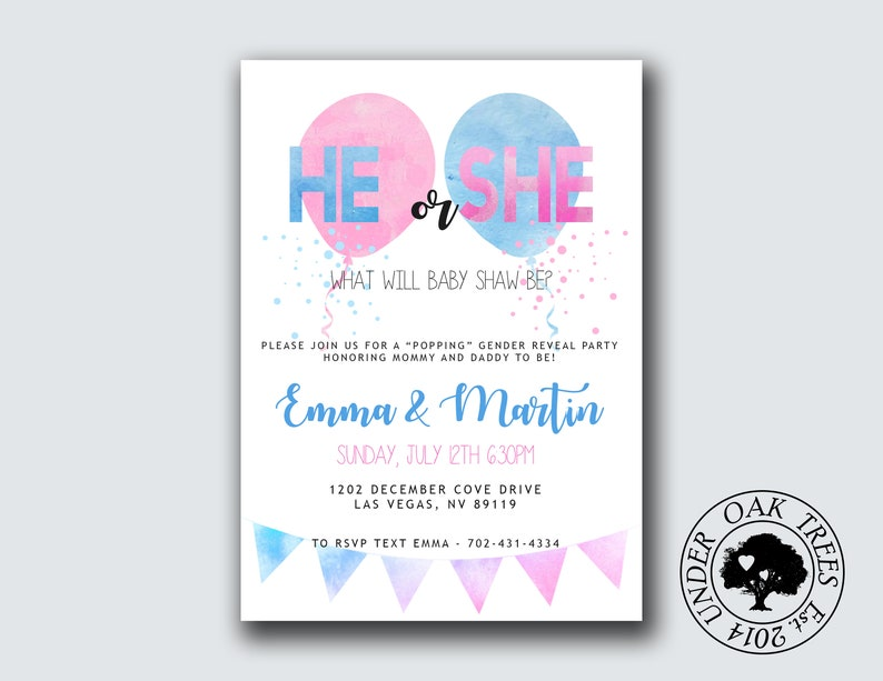 graphic regarding Printable Gender Reveal Invitations named Printable Gender Describe Invite- Gender make clear Bash- Balloon Pop He or She Little one Concept