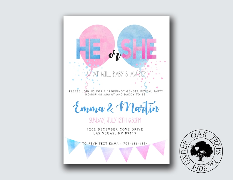 photograph about Printable Gender Reveal Invitations named Printable Gender Describe Invite- Gender describe Occasion- Balloon Pop He or She Boy or girl Topic