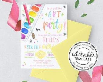 Put the Art in Party, Art Party Watercolor Birthday Invitation, Printable - EDITABLE TEMPLATE