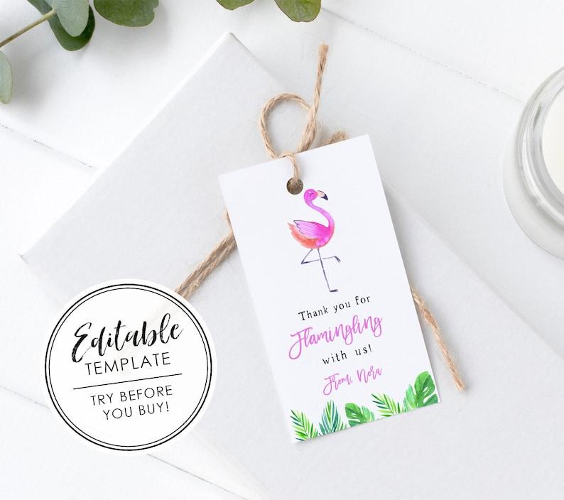 photo regarding Printable Flamingo Template referred to as Printable Flamingo Birthday Desire Present Tag - EDITABLE TEMPLATE
