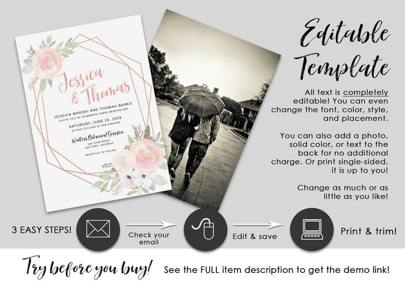 Printable Geometric Pink Floral Watercolor /& Rose Gold Wedding Invitation Set EDITABLE TEMPLATE