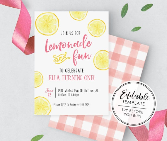 EDITABLE TEMPLATE Lemonade and Fun Watercolor Lemon Birthday Invitation