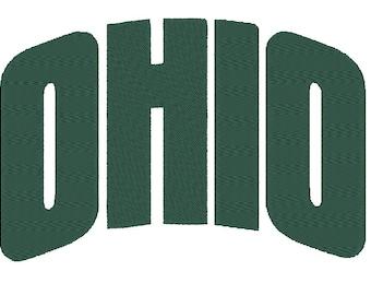 """Ohio Bobcats """"Ohio"""" Embroidery Design.  3 Hoop Sizes"""