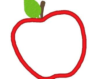 Apple Applique Embroidery Design. 4 hoop sizes