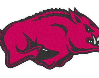 Arkansas Razorback Embroidery Design.  3 Large Hoop Sizes