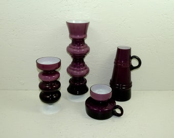 Vase or candle holder purple Friedrich crystal glass 70s overcatch white