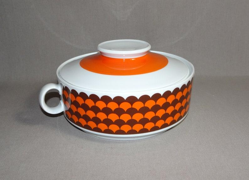 Terrine lid tin biscuit tin soup terrine WINTERLING 70s orange porcelain