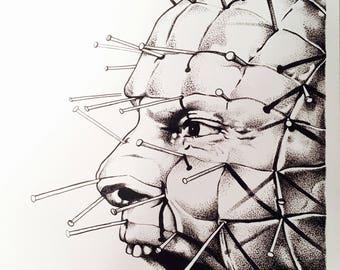"Hellraiser pinhead art print 8.75"" x 11.5"" inches/hand drawn/horror decor/cynobite/clive barker/portrait/religious/demons/home decor/wallart"