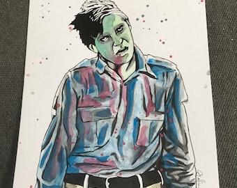 Dawn of the dead flyboy original art drawing / horror fan / horror art / George a Romero / creepshow / zombie / tattoo / misfits / scream