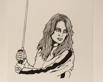 Kill bill uma thurman original fan art drawing/Quentin Tarantino/samurai/sword/japan/goth/motorcycle/knife/sketch/friend/gift/rose/tattoo/lp