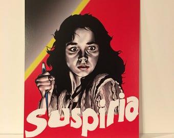 Suspiria horror fan art print/dario Argento/screenprint/women/witch/macabre/italy/giallo/demon/animal/blood/music/gift/color/tattoo/fashion/