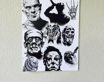 """horror decor art print 10.75 x 14"""" universal monster//frankenstein//elm street//psycho//friday the 13th//micheal myers//john carpenter//kill"""