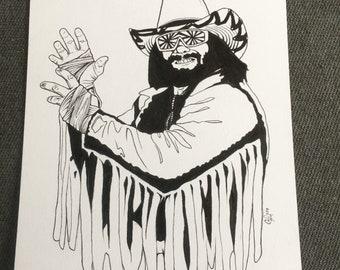 Wwf macho man randy savage original art / ink / wrestler / wrestling / hulk hogan / wall decor / 1980's / wcw / wwe / t shirt / wrestlemania
