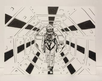 2001 a space odyssey fan art original drawing/pen/ink/tattoo/science/fiction/movie/film/horror/space/NASA/stanley kubrick/decor/home/future