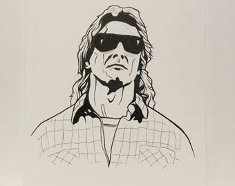 They live rowdy roddy piper original fan art drawing/horror/obey/wwe/wrestling/john carpenter/micheal myers/music/gift/the thing/movie/film
