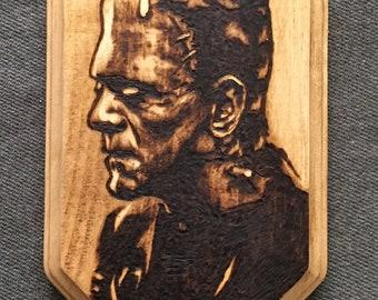 Frankenstein monster wood burned art plaque / universal monster / creature from the black lagoon / wall art / horror art / horror decor /
