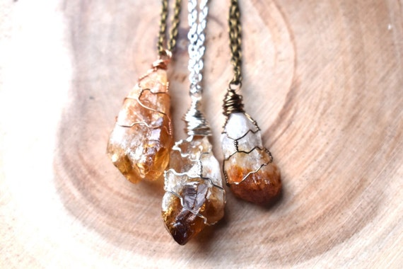 Citrine necklace wire wrapped | raw citrine November birthstone necklace | rustic crystal necklace