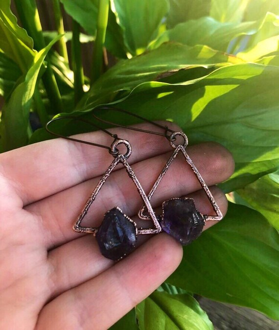 Amethyst earrings - raw amethyst triangle earrings -geometric earrings _electroformed triangle earrings - large gemstone earrings